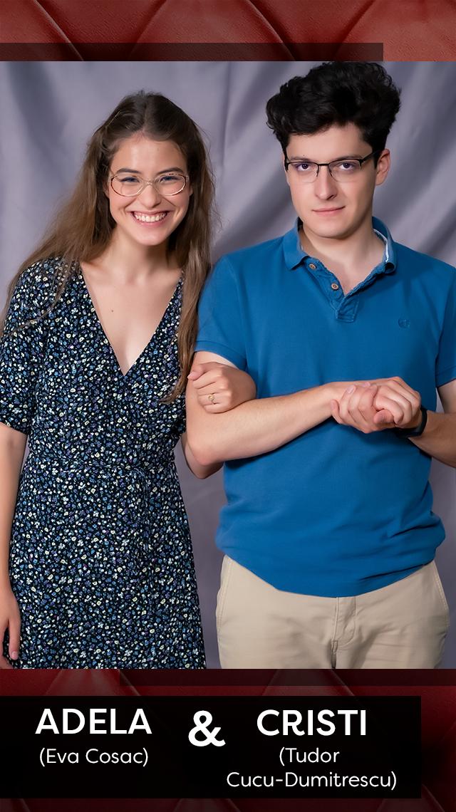 Adela (Eva Cosac) și Cristi (Tudor Cucu-Dumitrescu)